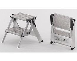 Alu-Klapptreppe - Stufen Aluminium geriffelt - ohne Sicherheitsbügel, 2 Stufen