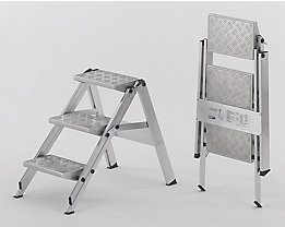 Alu-Klapptreppe - Stufen Aluminium geriffelt - ohne Sicherheitsbügel, 3 Stufen