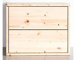 Bloc-tiroirs en bois - largeur 467 mm, 2 tiroirs - profondeur 295 mm, raboté et poli