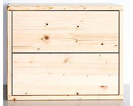 Wedeka Holzschubladenblock - Breite 467 mm, 2 Schubladen - Tiefe 395 mm, grundiert und mattiert