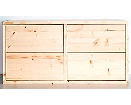 Bloc-tiroirs en bois - largeur 767 mm, 4 tiroirs - profondeur 295 mm, raboté et poli