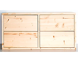 Bloc-tiroirs en bois - largeur 767 mm, 4 tiroirs - profondeur 395 mm, peinture d'apprêt et surface dépolie