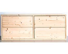 Bloc-tiroirs en bois - largeur 967 mm, 4 tiroirs - profondeur 295 mm, peinture d'apprêt et surface dépolie