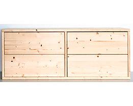 Bloc-tiroirs en bois - largeur 967 mm, 4 tiroirs - profondeur 395 mm, raboté et poli