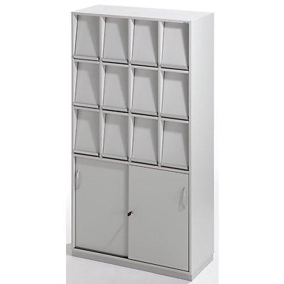 office akktiv Klappenschrank - mit 12 Klappen und Schiebetürschrank - HxBxT 1864 x 1000 x 420 mm