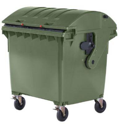 Kunststoff-Großmüllbehälter, nach DIN EN 840 - Volumen 1100 l, Schiebedeckel, Kindersicherung