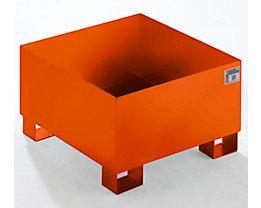 QUIPO Auffangwanne aus Stahlblech - LxBxH 800 x 800 x 465 mm, orange RAL 2000