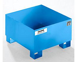 QUIPO Auffangwanne aus Stahlblech - LxBxH 800 x 800 x 465 mm, blau RAL 5012