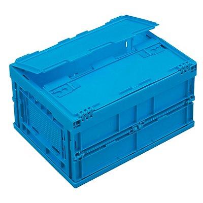 Faltbox aus Polypropylen - Inhalt 22 l, mit anscharniertem Deckel - blau
