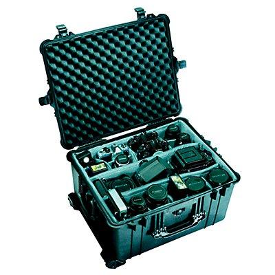 PELI Schutzkoffer mit Rollen - Inhalt 77,4 l, LxBxH 630 x 492 x 352 mm - mit Würfelschaumstoff