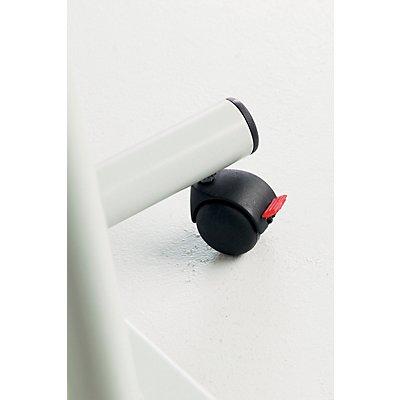 Smit Visual Rednerpult, höhenverstellbar - mobil mit 4 Rollen - schwarz / Buche-Dekor