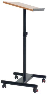 Rednerpult, höhenverstellbar - mobil mit 4 Rollen - schwarz / Buche-Dekor