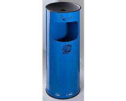 Sicherheits-Kombiascher, Stahlblech - Höhe 610 mm, Abfallvolumen 17 l - enzianblau