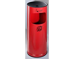 Sicherheits-Kombiascher, Stahlblech - Höhe 610 mm, Abfallvolumen 17 l - feuerrot