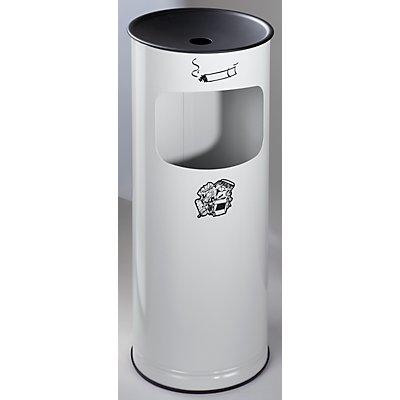 Combiné cendrier-poubelle de sécurité en tôle d'acier - hauteur 610 mm, capacité poubelle 17 l