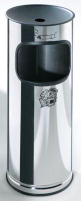 Edelstahl-Standascher mit Abfallbehälter - Höhe 610 mm - Abfallvolumen 17 l