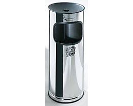 Edelstahl-Standascher mit Abfallbehälter - Höhe 610 mm