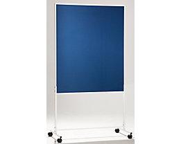 QUIPO mobile Präsentationswand - HxBxT 1960 x 1000 x 670 mm, einteilig - Textilbezug blau