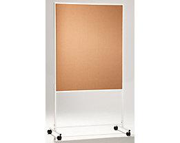 QUIPO mobile Präsentationswand - HxBxT 1960 x 1000 x 670 mm, einteilig - Naturkork