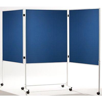 QUIPO mobile Moderationswand, dreiteilig - HxB 1800 x 2800 mm - Textilbezug blau