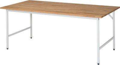 RAU Arbeitstisch, höhenverstellbar - 800 – 850 mm, Buchenplatte massiv