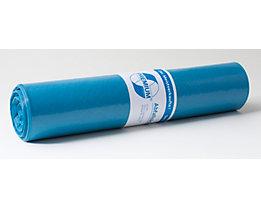 Sacs plastique - capacité 120 l, l x h 700 x 1100 mm - épaisseur matériau 37 µm, bleu, lot de 250