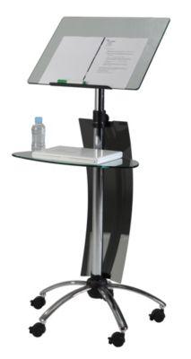 Rednerstativ FORUM - 2 Glasplatten - höhenverstellbar 1050 – 1450 mm