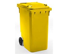 Großmülltonne aus Kunststoff, nach DIN EN 840 - Volumen 360 l, HxBxT 1100 x 600 x 874 mm, Rad-Ø 200 mm - gelb