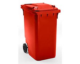 Großmülltonne aus Kunststoff, nach DIN EN 840 - Volumen 360 l, HxBxT 1100 x 600 x 874 mm, Rad-Ø 200 mm - rot, ab 5 Stk