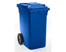 Großmülltonne aus Kunststoff, nach DIN EN 840 - Volumen 360 l, HxBxT 1100 x 600 x 874 mm, Rad-Ø 300 mm - blau
