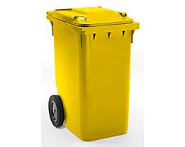 Großmülltonne aus Kunststoff, nach DIN EN 840 - Volumen 360 l, HxBxT 1100 x 600 x 874 mm, Rad-Ø 300 mm - gelb, ab 5 Stk