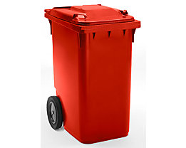 Großmülltonne aus Kunststoff, nach DIN EN 840 - Volumen 360 l, HxBxT 1100 x 600 x 874 mm, Rad-Ø 300 mm - rot, ab 5 Stk