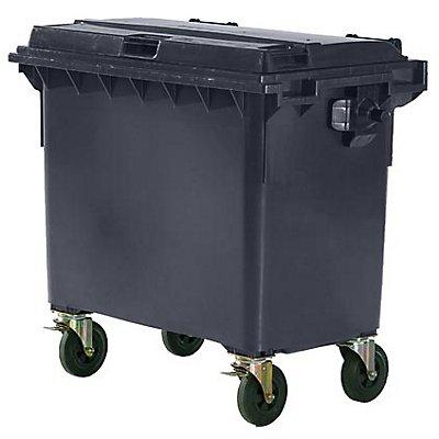 Conteneur à déchets 4 roues en plastique conforme à la norme DIN EN 840 - capacité 660 l