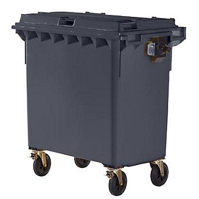 Conteneur à déchets 4 roues en plastique conforme à la norme DIN EN 840 - capacité 770 l
