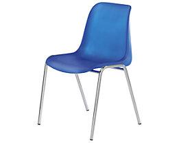 Blauer Kunststoffschalenstuhl ohne Polster