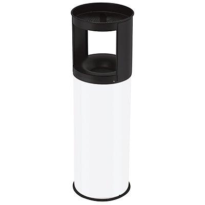 Poubelle anti-feu avec cendrier - capacité poubelle 25 l, hauteur 800 mm