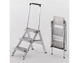 Alu-Klapptreppe - Stufen Aluminium geriffelt - mit Sicherheitsbügel, 3 Stufen
