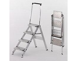 Alu-Klapptreppe - Stufen Aluminium geriffelt - mit Sicherheitsbügel, 4 Stufen