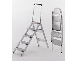 Alu-Klapptreppe - Stufen Aluminium geriffelt - mit Sicherheitsbügel, 5 Stufen