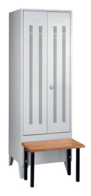 Wolf Kleiderspind mit vorgebauter Bank - Lochblech-Türen, Abteilbreite 600 mm, 1 Abteil