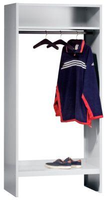 Garderobe - lichtgrau RAL 7035 mit 10 Kleiderbügeln