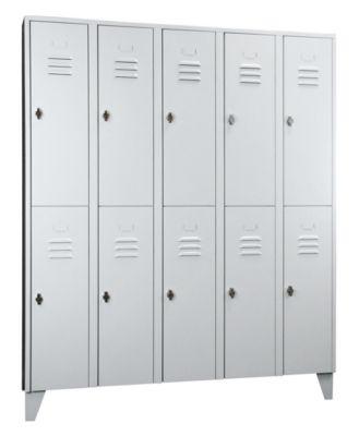 Wolf Stahlspind mit Stollenfüßen, Abteile horizontal geteilt - Vollwandtüren, Abteilbreite 300 mm