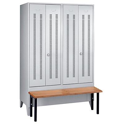 Wolf Kleiderspind mit vorgebauter Bank - Lochblech-Türen, Abteilbreite 600 mm, 2 Abteile