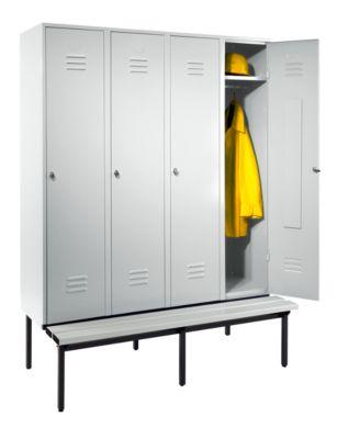 Kleiderspind mit untergebauter Bank - Vollwand-Türen,