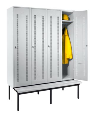 Wolf Kleiderspind mit untergebauter Bank - Lochblech-Türen, Abteilbreite 400 mm, 4 Abteile
