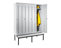 Wolf Kleiderspind mit untergebauter Bank - Lochblech-Türen, Abteilbreite 400 mm, 4 Abteile - lichtgrau