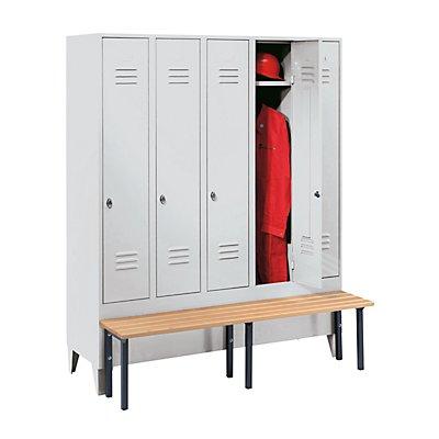 Wolf Kleiderspind mit vorgebauter Bank - Vollwand-Türen, Abteilbreite 300 mm, 5 Abteile