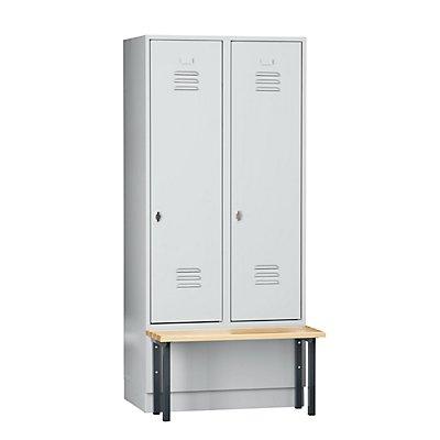 Wolf Kleiderspind mit vorgebauter Bank - Vollwand-Türen, Abteilbreite 400 mm, 2 Abteile