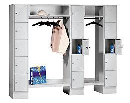 Wolf Schließfachgarderoben-System - 15 Abteile außen / Mitte, 15 Kleiderbügel