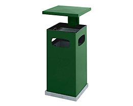 Abfallsammler für außen, mit Aschereinsatz und Schutzdach - Behälterinhalt ca. 38 l - moosgrün
